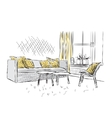 Outline sketch of a interior vector image vector image