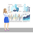 presenter with whiteboard and infographics charts vector image vector image
