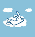 rabbit on cloud flat drawn design color vector image vector image