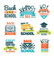 school labels set back to school theme vector image