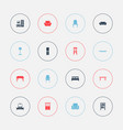 set of 16 editable interior icons includes vector image vector image