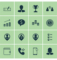 set of 16 human resources icons includes phone vector image vector image