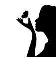 silhouette of a beauty girl with butterfly vector image vector image