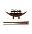 Sushi roll with salmon smoked eel selective food vector image vector image