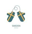 Sweden mitten with flag vector image
