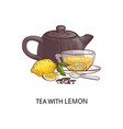 tea with lemon - cartoon drawing glass cup with vector image vector image