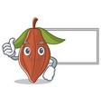 thumbs up with board cacao bean character cartoon vector image vector image
