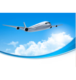 Travel background with an airplane and white vector image vector image