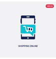 two color shopping online icon from blogger and vector image vector image