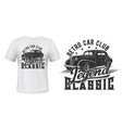 vintage car t-shirt print vehicle club vector image