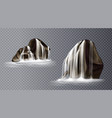 waterfall cascade on rock realistic water fall vector image