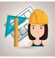 woman architecture tools plans vector image