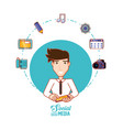 young businessman with social media icons vector image vector image