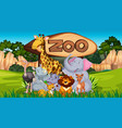 zoo animals in wild nature background vector image vector image