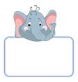baby elephant cartoon label vector image