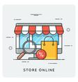 store online flat line art style concept vector image