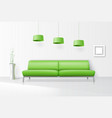 White interior with realistic sofa vector image