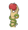 apple in hand sketch vector image vector image