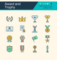 award and trophy icons filled outline design vector image vector image