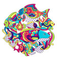 background with fishes mexican ceramic cute naive vector image vector image