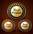 best prduct golden label design vector image vector image