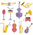 big set different musical instruments vector image