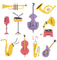 big set of different musical instruments vector image