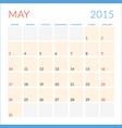 Calendar 2015 flat design template May Week starts vector image vector image