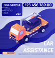 car assistance advertisement banner with text vector image vector image