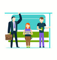 cartoon color characters people passengers inside vector image