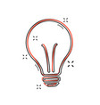 cartoon halogen lightbulb icon in comic style vector image vector image