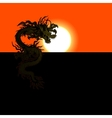 Chinese dragon at sunset or sunrise vector image
