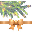 christmas ribbon and fir tree isolated on white vector image vector image