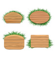 Clean wood banners with grass vector image vector image