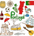 Collection of Portugal icons vector image