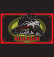 colorful retro posters with vintage locomotive vector image vector image
