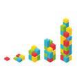colour plastic bricks size construction process vector image vector image