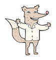 comic cartoon happy wolf wearing shirt vector image vector image