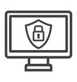 computer security line icon protection padlock vector image vector image