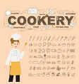 cookery with food icons set design vector image vector image