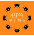 Cute cartoon spider round frame Halloween card vector image