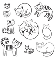 Cute doodle cats with different emotions vector image vector image