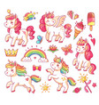 cute flying baby rainbow unicorn with gold stars vector image vector image