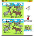 differences game with donkeys animal characters vector image vector image