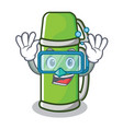diving thermos character cartoon style vector image
