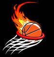 flaming basketball through hoop logo vector image vector image
