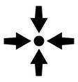 four arrows point show to dot icon black color vector image