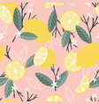 fruit seamless pattern lemons with branches vector image vector image