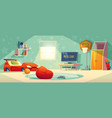 game console in kid room vector image