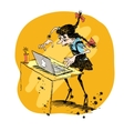 Girl and laptop vector image vector image